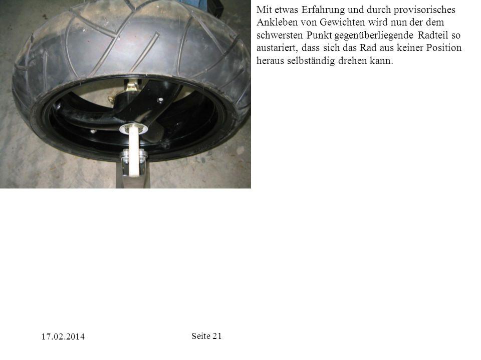 17.02.2014 Seite 21 Mit etwas Erfahrung und durch provisorisches Ankleben von Gewichten wird nun der dem schwersten Punkt gegenüberliegende Radteil so