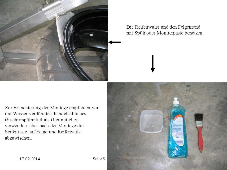 17.02.2014 Seite 19 Jetzt kann der Reifen mit Luft befüllt werden.