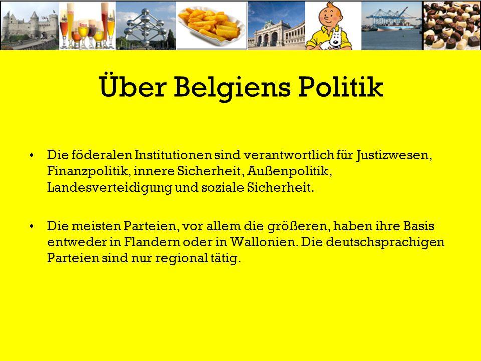 Über Belgiens Politik Die föderalen Institutionen sind verantwortlich für Justizwesen, Finanzpolitik, innere Sicherheit, Außenpolitik, Landesverteidig