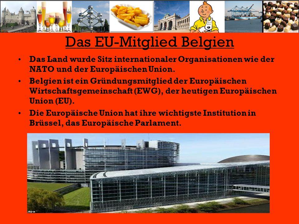 Das EU-Mitglied Belgien Das Land wurde Sitz internationaler Organisationen wie der NATO und der Europäischen Union. Belgien ist ein Gründungsmitglied