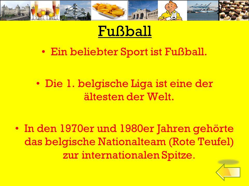 Fußball Ein beliebter Sport ist Fußball.Die 1. belgische Liga ist eine der ältesten der Welt.