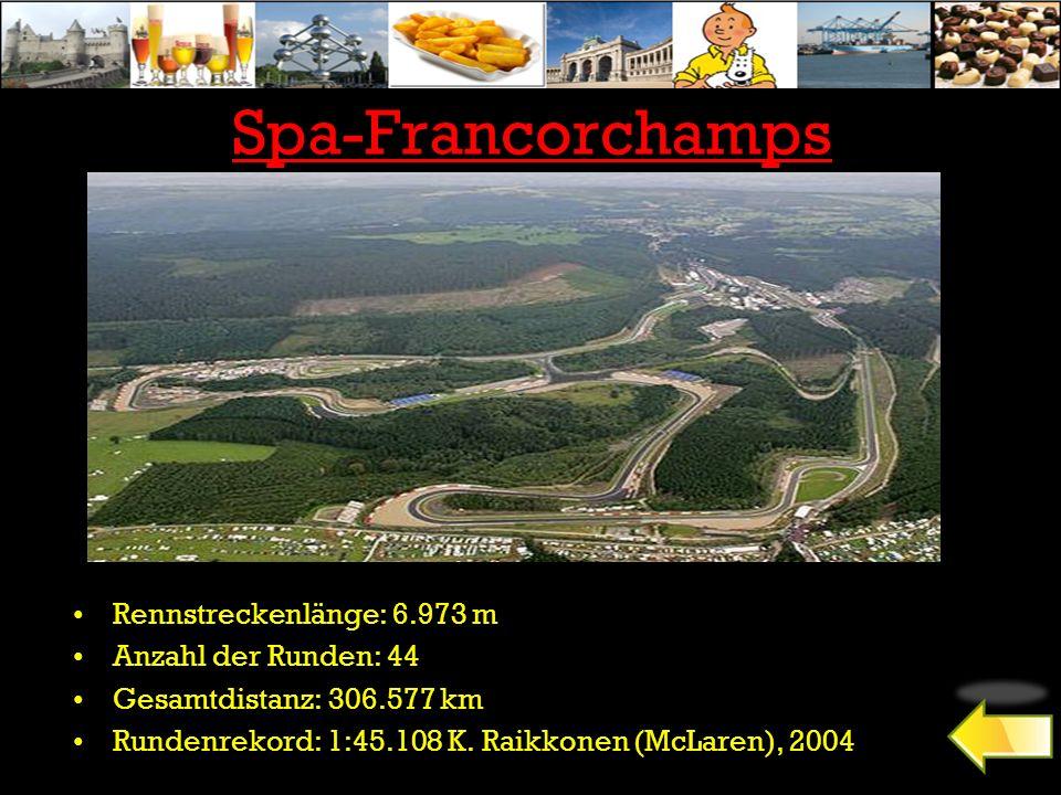 Spa-Francorchamps Rennstreckenlänge: 6.973 m Anzahl der Runden: 44 Gesamtdistanz: 306.577 km Rundenrekord: 1:45.108 K. Raikkonen (McLaren), 2004
