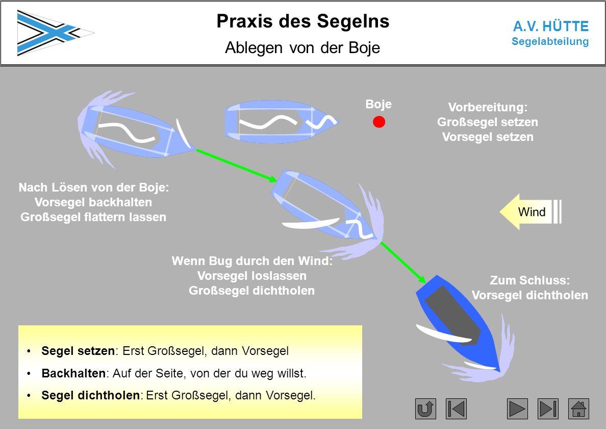 Praxis des Segelns A.V. HÜTTE Segelabteilung Ablegen von der Boje Wind Segel setzen: Erst Großsegel, dann Vorsegel Backhalten: Auf der Seite, von der