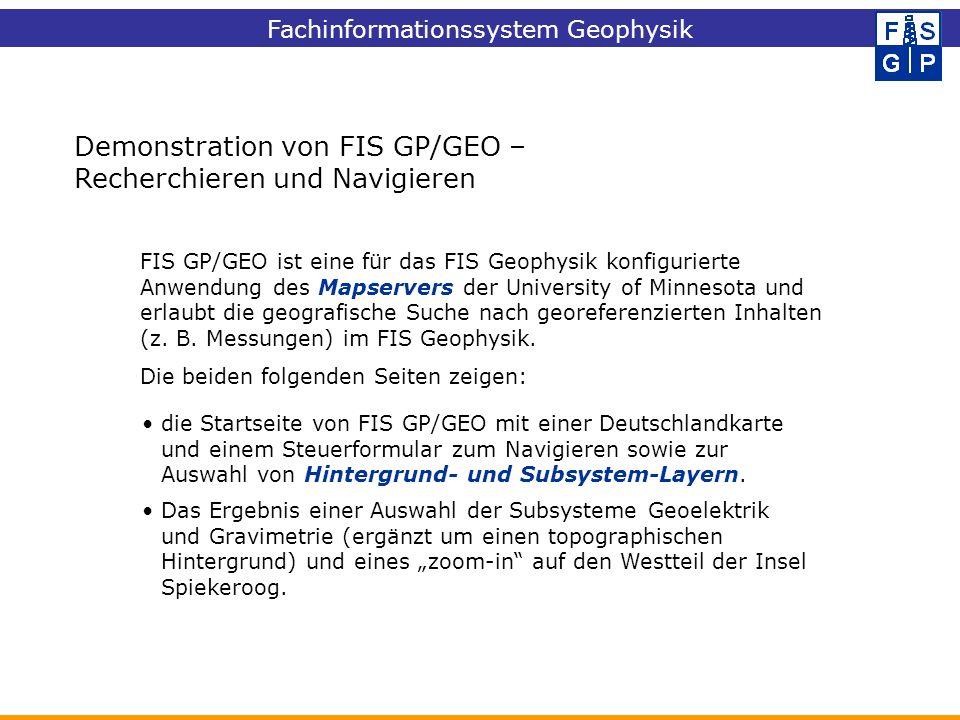 Demonstration von FIS GP/GEO – Recherchieren und Navigieren die Startseite von FIS GP/GEO mit einer Deutschlandkarte und einem Steuerformular zum Navi