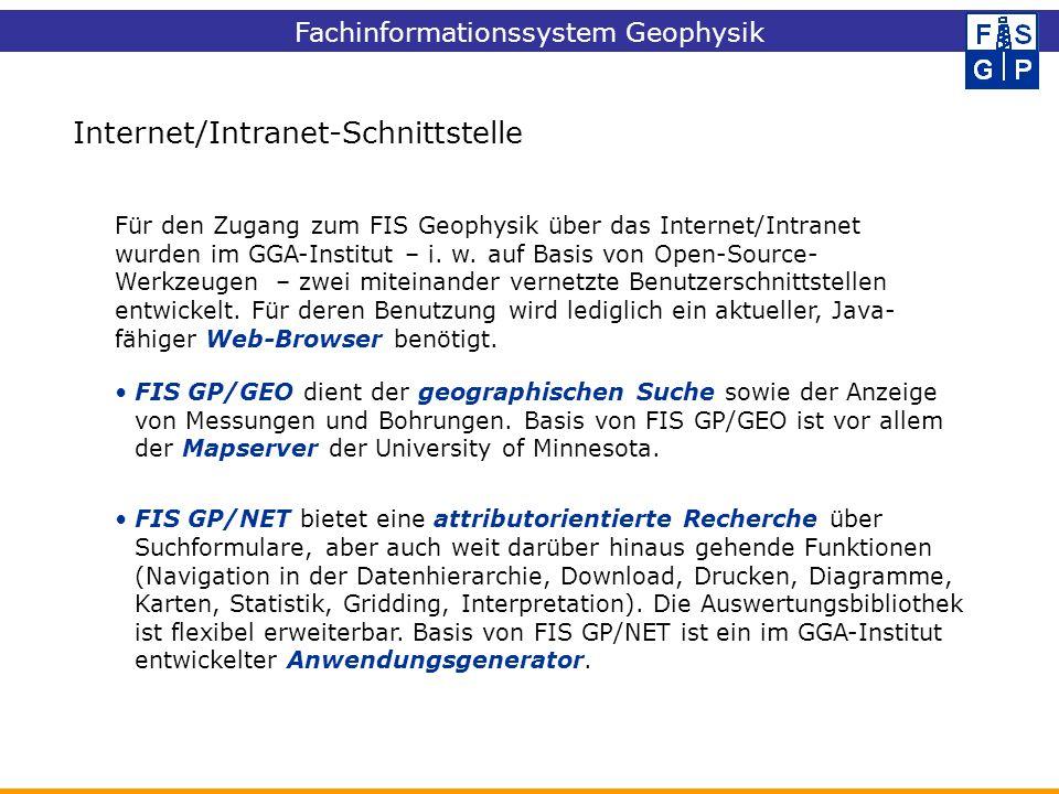 Fachinformationssystem Geophysik FIS GP/GEO dient der geographischen Suche sowie der Anzeige von Messungen und Bohrungen. Basis von FIS GP/GEO ist vor