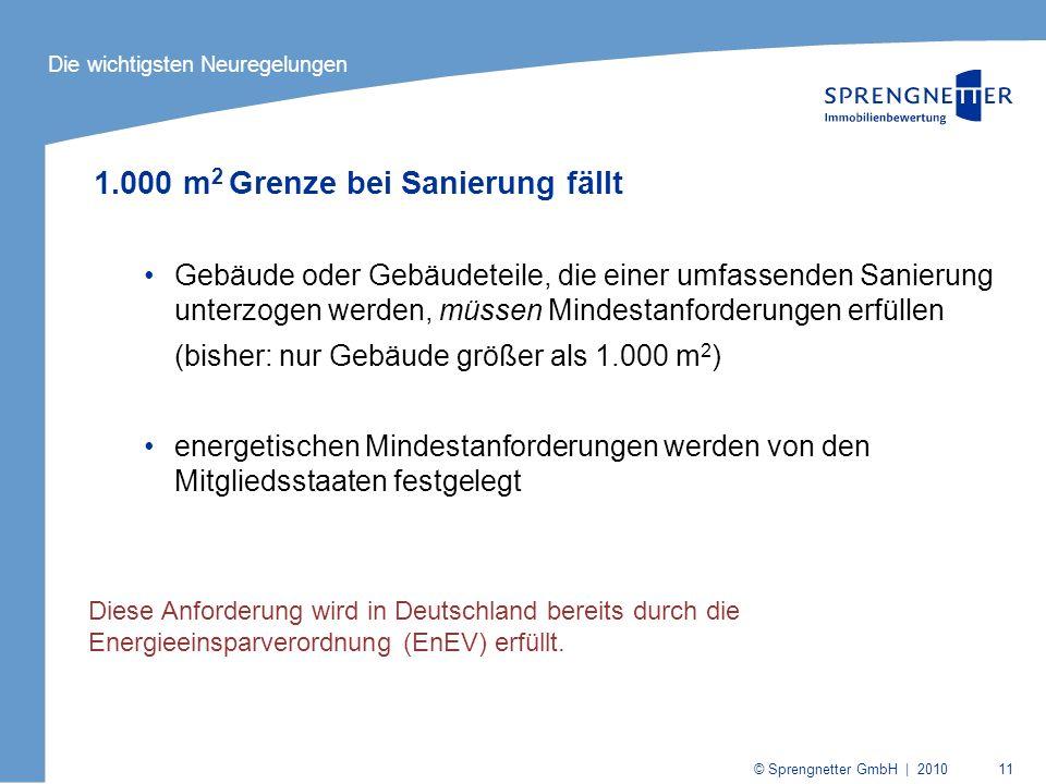 © Sprengnetter GmbH | 2010 11 1.000 m 2 Grenze bei Sanierung fällt Gebäude oder Gebäudeteile, die einer umfassenden Sanierung unterzogen werden, müsse