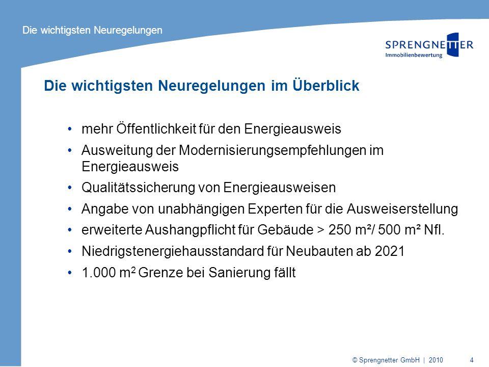 © Sprengnetter GmbH | 2010 4 Die wichtigsten Neuregelungen im Überblick mehr Öffentlichkeit für den Energieausweis Ausweitung der Modernisierungsempfe