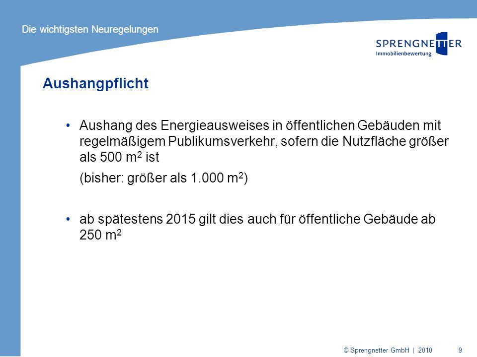 © Sprengnetter GmbH | 2010 9 Aushangpflicht Aushang des Energieausweises in öffentlichen Gebäuden mit regelmäßigem Publikumsverkehr, sofern die Nutzfl