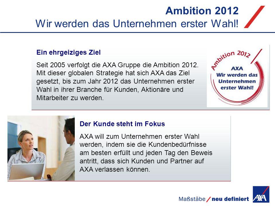Ambition 2012 Wir werden das Unternehmen erster Wahl! Ein ehrgeiziges Ziel Seit 2005 verfolgt die AXA Gruppe die Ambition 2012. Mit dieser globalen St