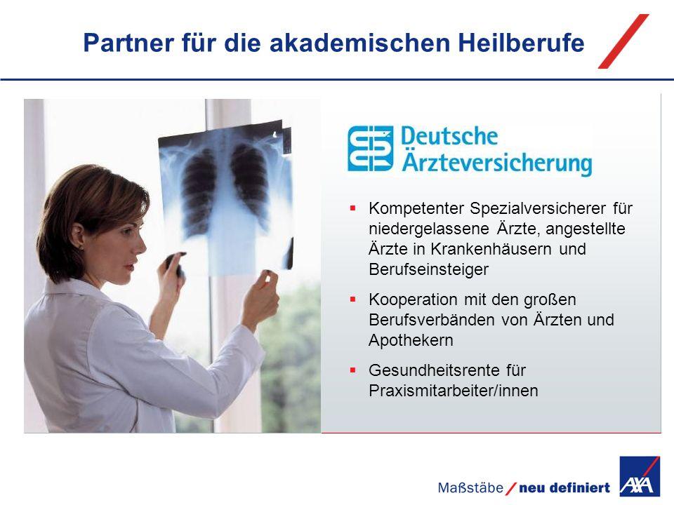Partner für die akademischen Heilberufe Kompetenter Spezialversicherer für niedergelassene Ärzte, angestellte Ärzte in Krankenhäusern und Berufseinste