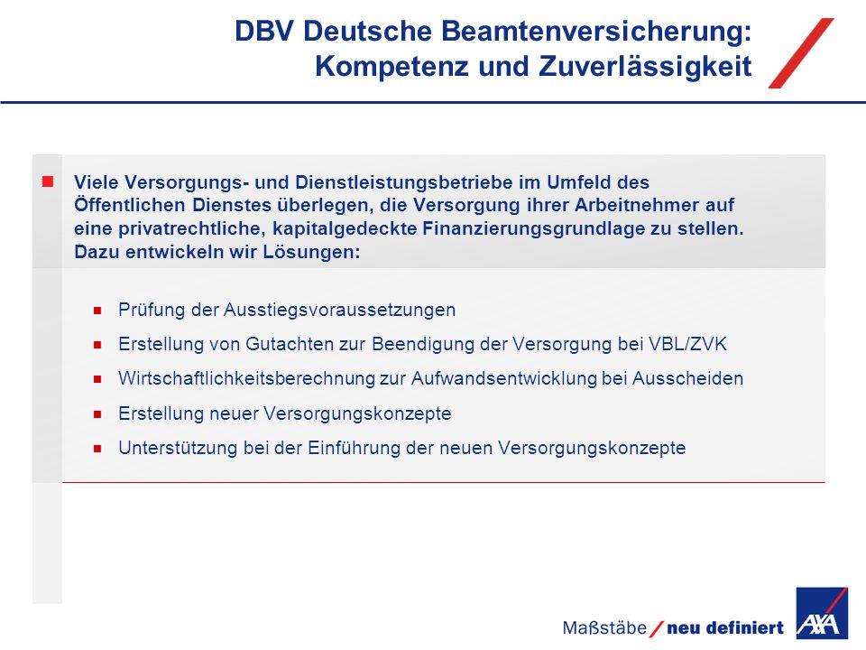 DBV Deutsche Beamtenversicherung: Kompetenz und Zuverlässigkeit Viele Versorgungs- und Dienstleistungsbetriebe im Umfeld des Öffentlichen Dienstes übe