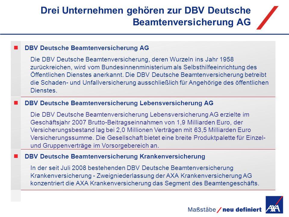 DBV Deutsche Beamtenversicherung Krankenversicherung In der seit Juli 2008 bestehenden DBV Deutsche Beamtenversicherung Krankenversicherung - Zweignie