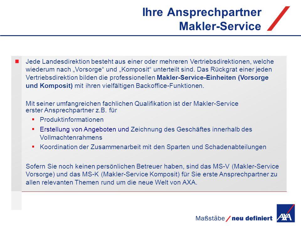 Ihre Ansprechpartner Makler-Service Jede Landesdirektion besteht aus einer oder mehreren Vertriebsdirektionen, welche wiederum nach Vorsorge und Kompo