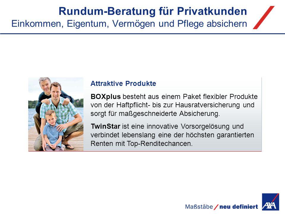 Rundum-Beratung für Privatkunden Einkommen, Eigentum, Vermögen und Pflege absichern Attraktive Produkte BOXplus besteht aus einem Paket flexibler Prod