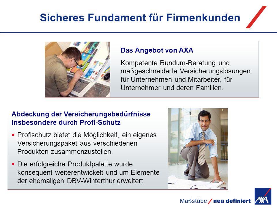 Sicheres Fundament für Firmenkunden Das Angebot von AXA Kompetente Rundum-Beratung und maßgeschneiderte Versicherungslösungen für Unternehmen und Mita