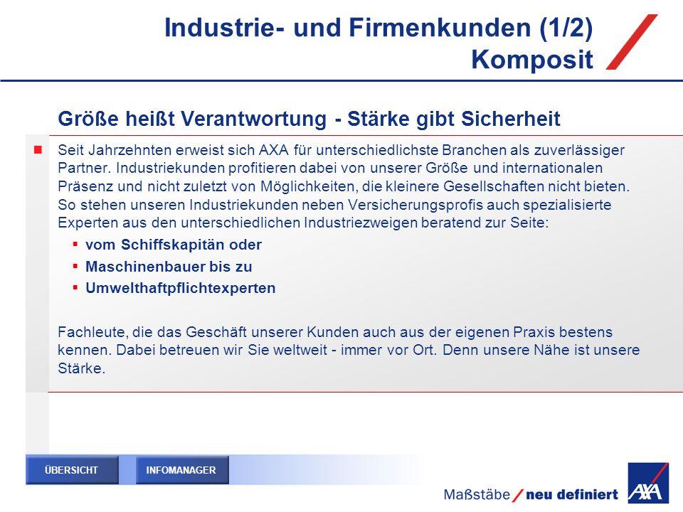 Industrie- und Firmenkunden (1/2) Komposit Größe heißt Verantwortung - Stärke gibt Sicherheit Seit Jahrzehnten erweist sich AXA für unterschiedlichste