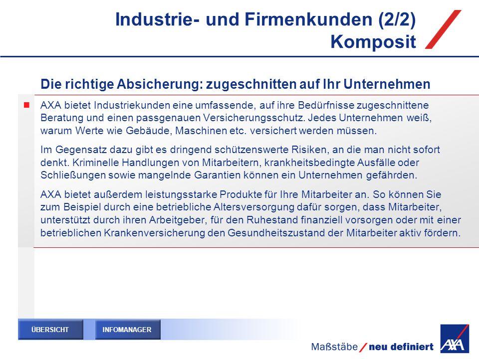 Industrie- und Firmenkunden (2/2) Komposit Die richtige Absicherung: zugeschnitten auf Ihr Unternehmen AXA bietet Industriekunden eine umfassende, auf