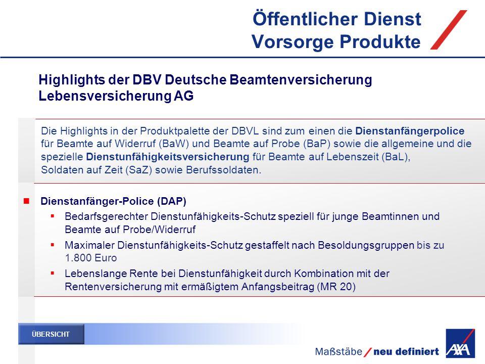 Öffentlicher Dienst Vorsorge Produkte Die Highlights in der Produktpalette der DBVL sind zum einen die Dienstanfängerpolice für Beamte auf Widerruf (B