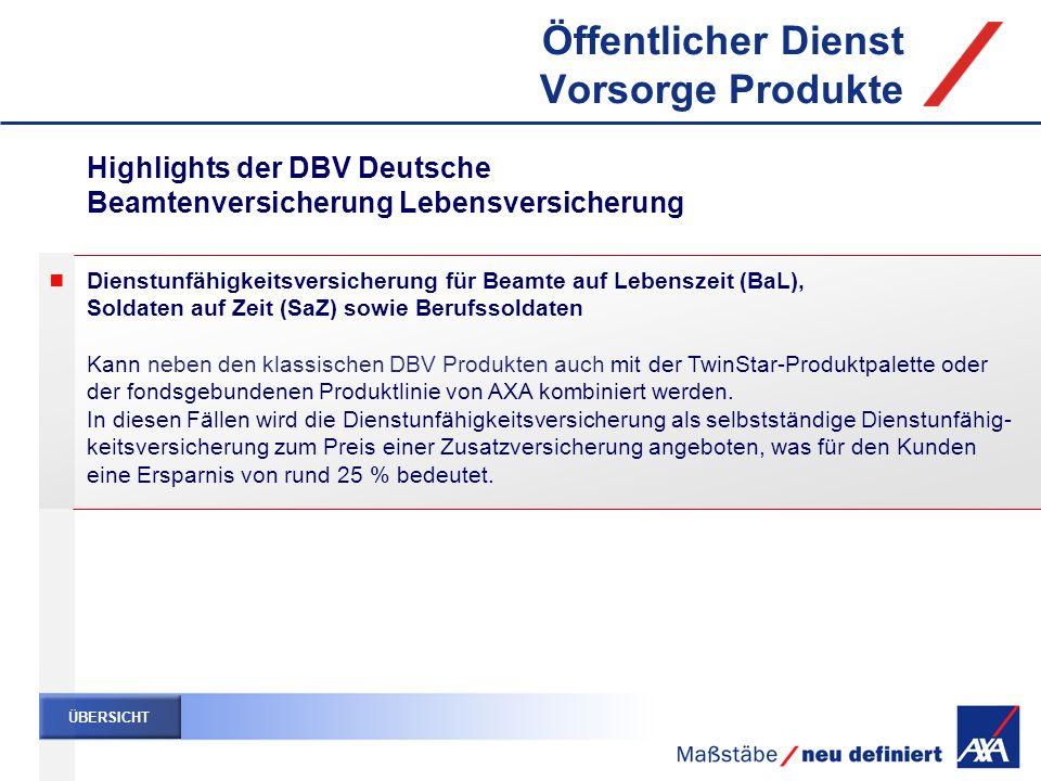Dienstunfähigkeitsversicherung für Beamte auf Lebenszeit (BaL), Soldaten auf Zeit (SaZ) sowie Berufssoldaten Kann neben den klassischen DBV Produkten