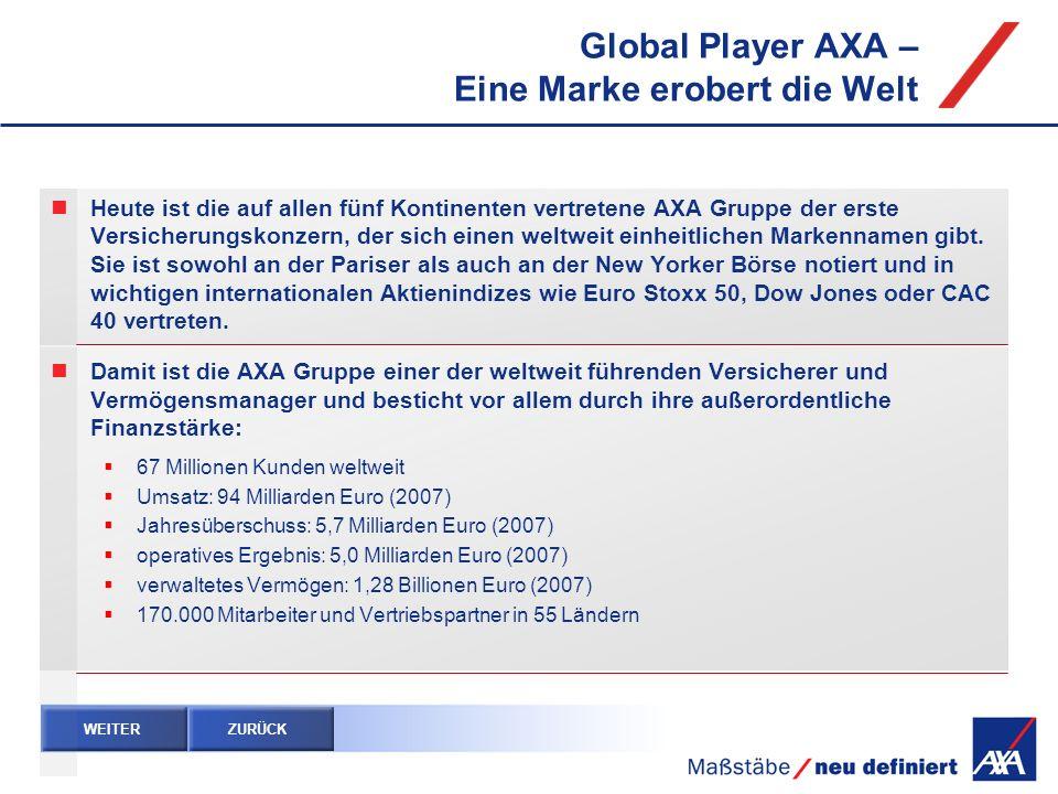 Global Player AXA – Eine Marke erobert die Welt Heute ist die auf allen fünf Kontinenten vertretene AXA Gruppe der erste Versicherungskonzern, der sic
