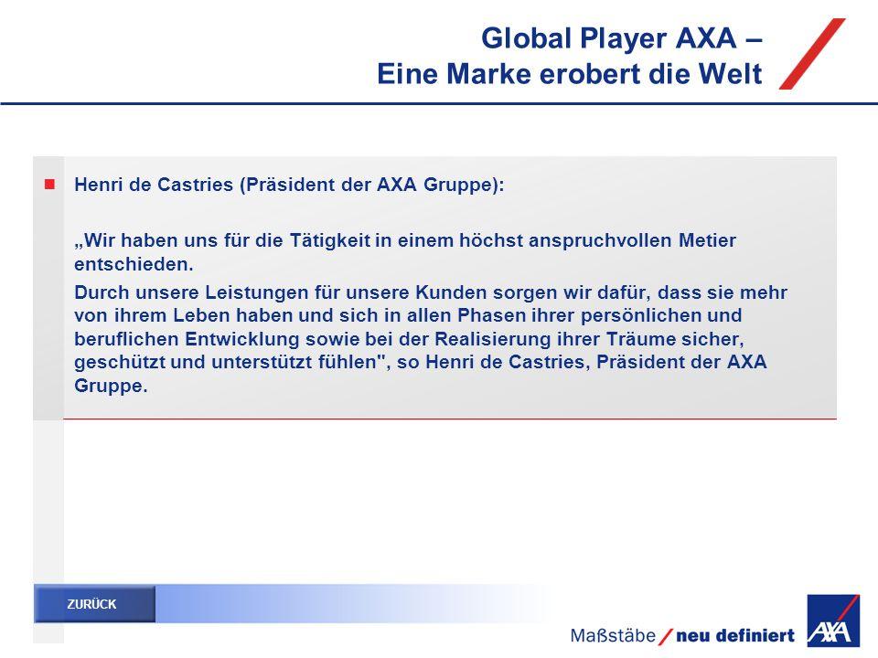 Global Player AXA – Eine Marke erobert die Welt Henri de Castries (Präsident der AXA Gruppe): Wir haben uns für die Tätigkeit in einem höchst anspruch