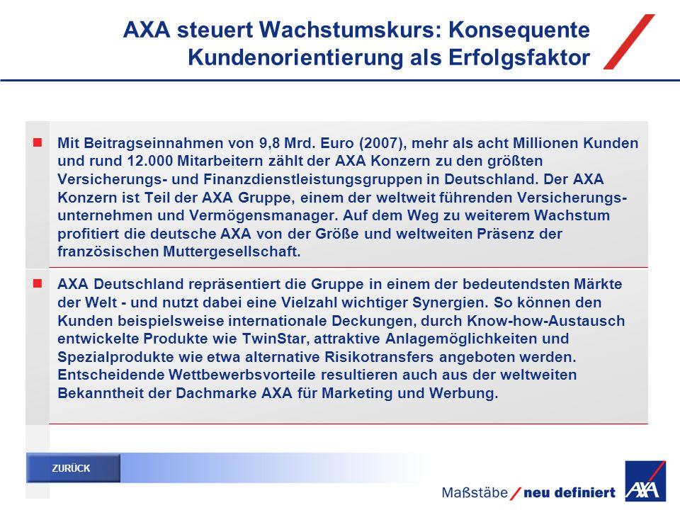 AXA steuert Wachstumskurs: Konsequente Kundenorientierung als Erfolgsfaktor Mit Beitragseinnahmen von 9,8 Mrd. Euro (2007), mehr als acht Millionen Ku
