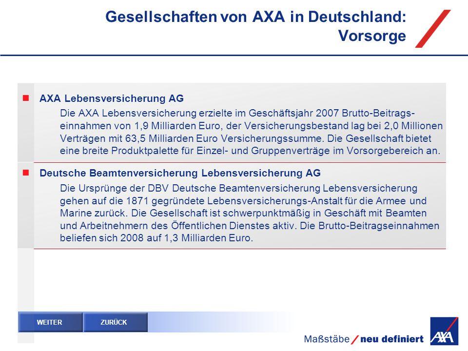 Gesellschaften von AXA in Deutschland: Vorsorge WEITER ZURÜCK AXA Lebensversicherung AG Die AXA Lebensversicherung erzielte im Geschäftsjahr 2007 Brut