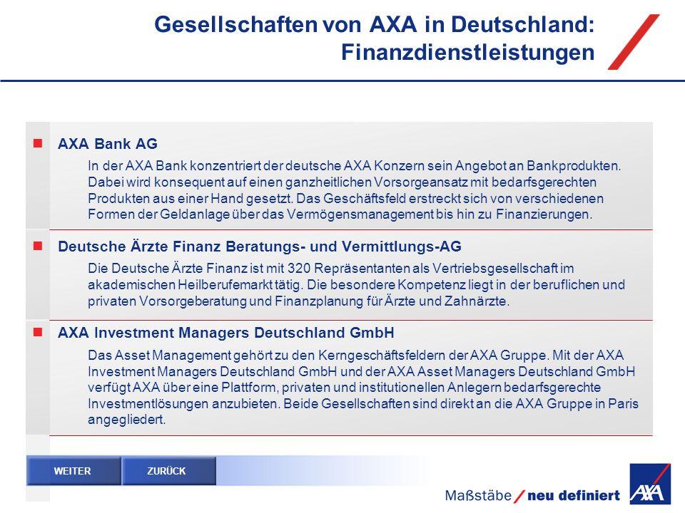 Gesellschaften von AXA in Deutschland: Finanzdienstleistungen AXA Bank AG In der AXA Bank konzentriert der deutsche AXA Konzern sein Angebot an Bankpr