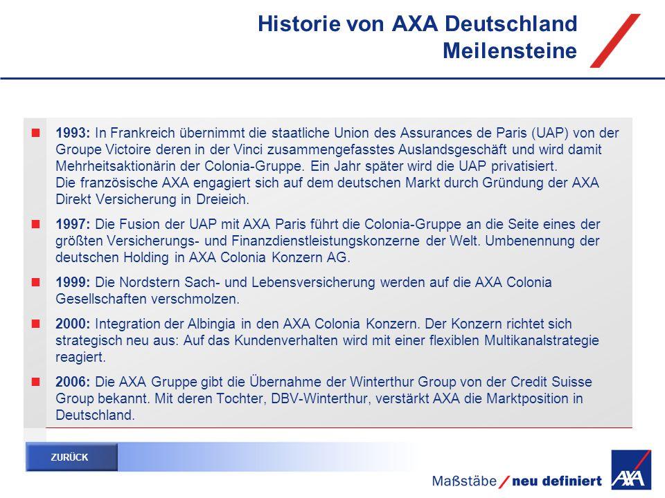1993: In Frankreich übernimmt die staatliche Union des Assurances de Paris (UAP) von der Groupe Victoire deren in der Vinci zusammengefasstes Auslands