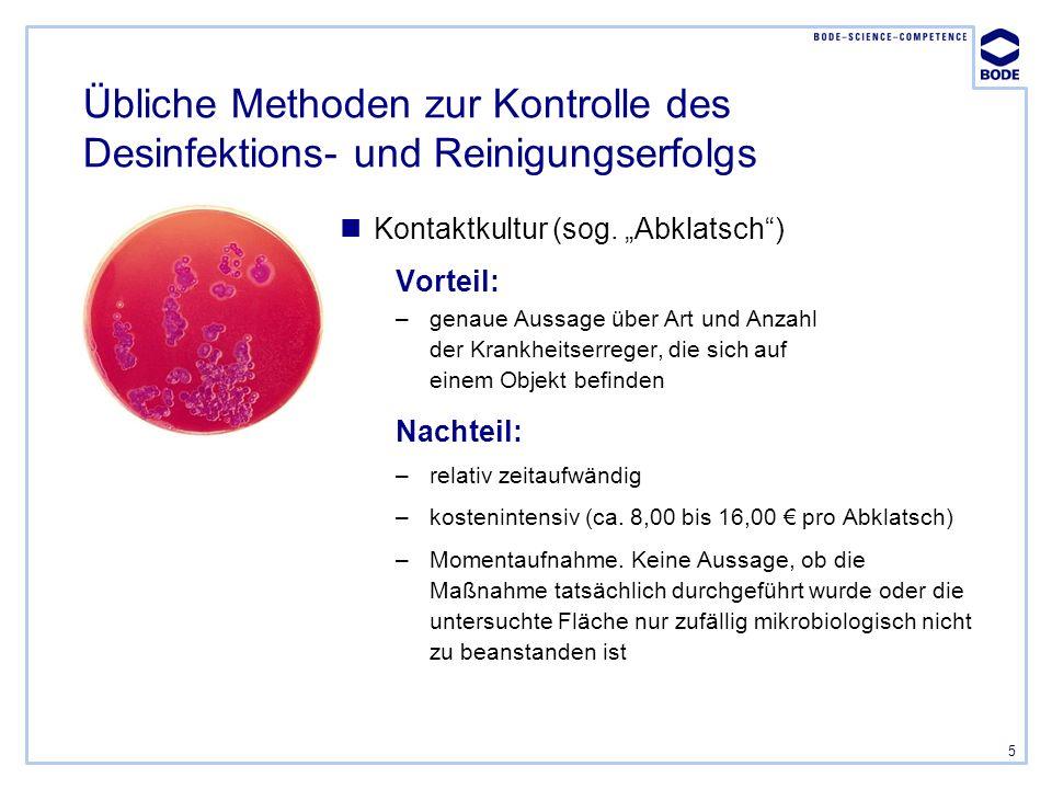 5 Übliche Methoden zur Kontrolle des Desinfektions- und Reinigungserfolgs Kontaktkultur (sog. Abklatsch) Vorteil: –genaue Aussage über Art und Anzahl