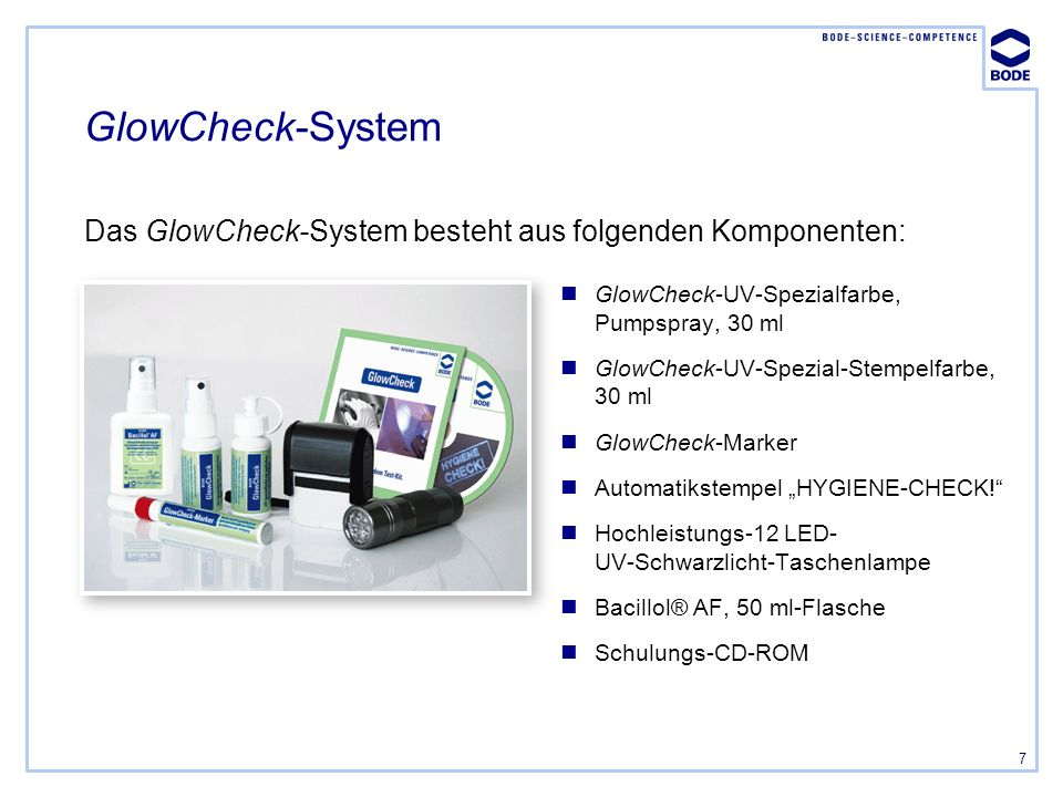 7 GlowCheck-System GlowCheck-UV-Spezialfarbe, Pumpspray, 30 ml GlowCheck-UV-Spezial-Stempelfarbe, 30 ml GlowCheck-Marker Automatikstempel HYGIENE-CHEC