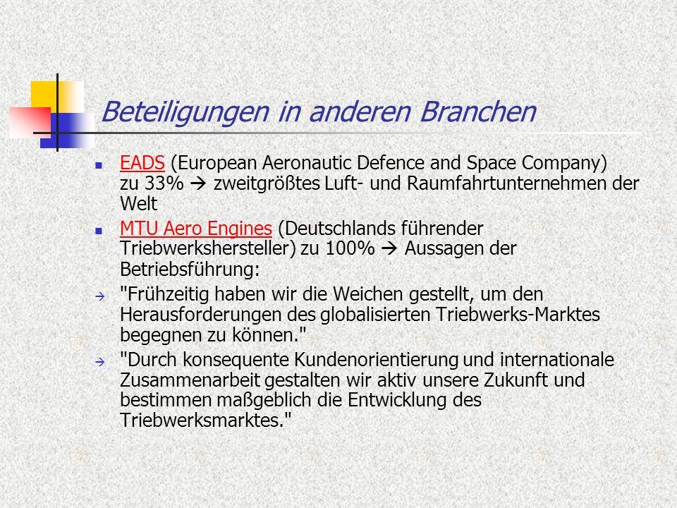 Beteiligungen in anderen Branchen EADS (European Aeronautic Defence and Space Company) zu 33% zweitgrößtes Luft- und Raumfahrtunternehmen der Welt EAD