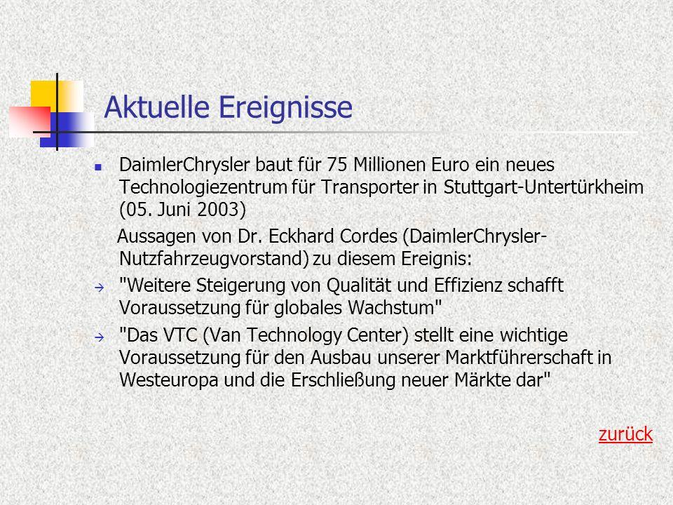 Aktuelle Ereignisse DaimlerChrysler baut für 75 Millionen Euro ein neues Technologiezentrum für Transporter in Stuttgart-Untertürkheim (05. Juni 2003)