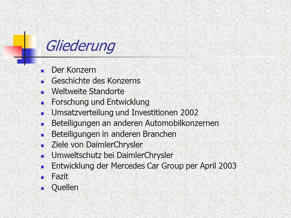 Der Konzern Eines der führenden Automobilunternehmen der Welt Das Unternehmen umfasst 368.000 Mitarbeiter Umsatz im Jahr 2002: 149,6 Mrd.