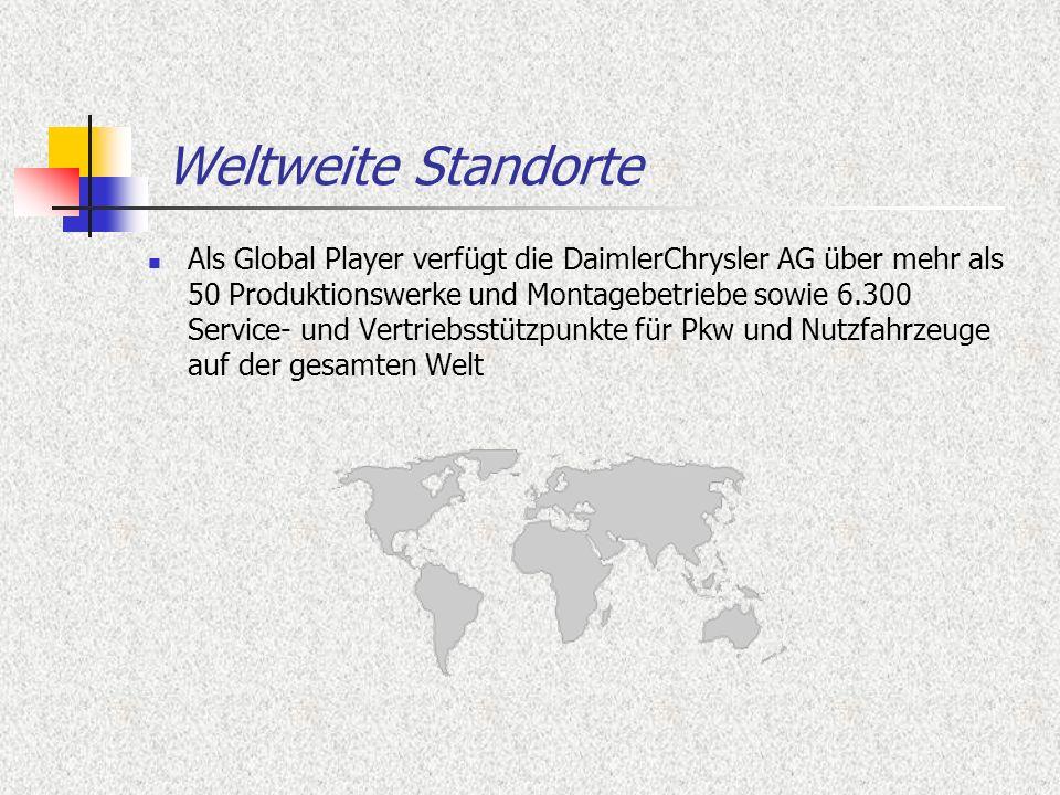 Weltweite Standorte Als Global Player verfügt die DaimlerChrysler AG über mehr als 50 Produktionswerke und Montagebetriebe sowie 6.300 Service- und Ve
