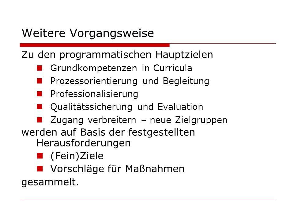 Weitere Vorgangsweise Zu den programmatischen Hauptzielen Grundkompetenzen in Curricula Prozessorientierung und Begleitung Professionalisierung Qualitätssicherung und Evaluation Zugang verbreitern – neue Zielgruppen werden auf Basis der festgestellten Herausforderungen (Fein)Ziele Vorschläge für Maßnahmen gesammelt.
