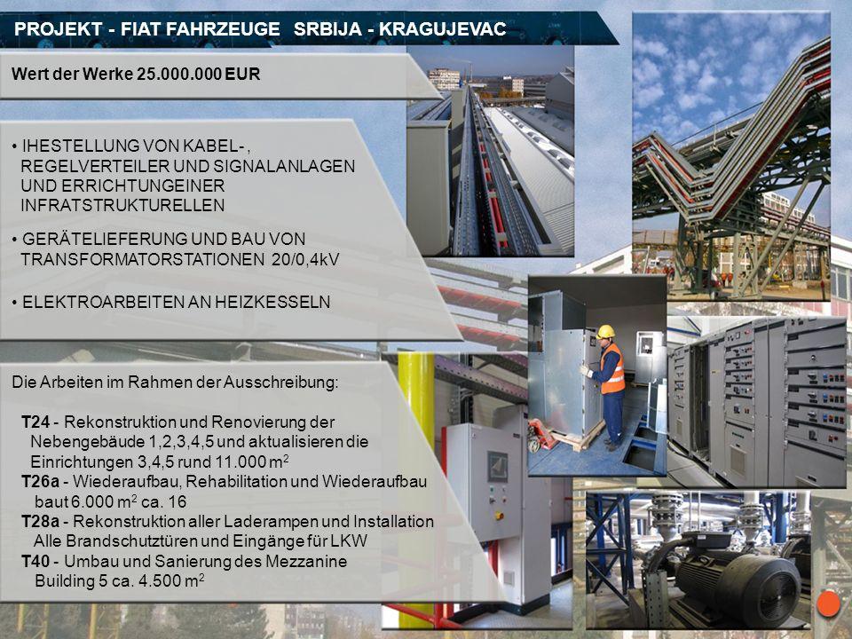 PROJEKT - FIAT FAHRZEUGE SRBIJA - KRAGUJEVAC Wert der Werke 25.000.000 EUR IHESTELLUNG VON KABEL-, REGELVERTEILER UND SIGNALANLAGEN UND ERRICHTUNGEINE