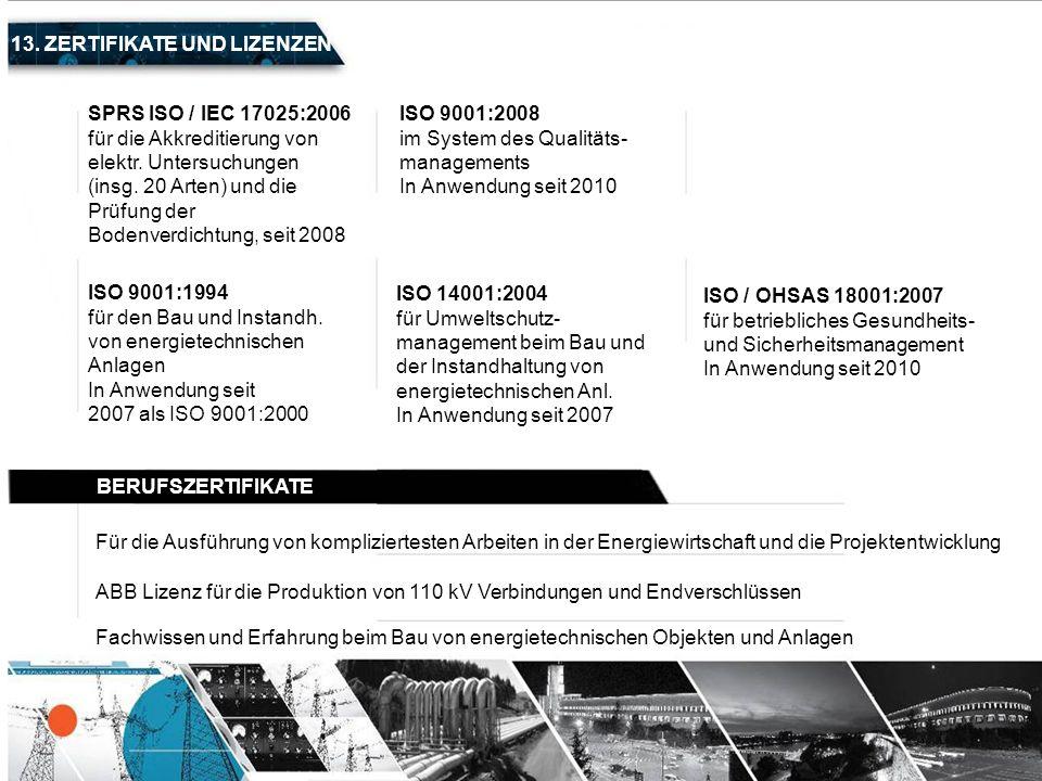 13. ZERTIFIKATE UND LIZENZEN SPRS ISO / IEC 17025:2006 für die Akkreditierung von elektr. Untersuchungen (insg. 20 Arten) und die Prüfung der Bodenver