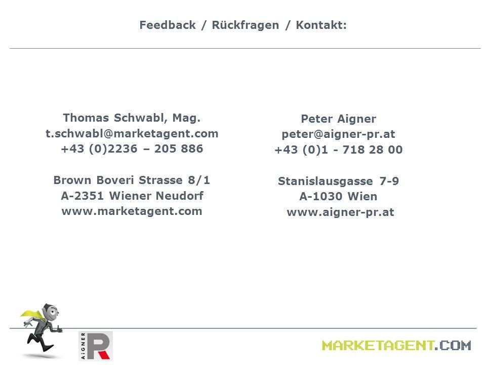 Feedback / Rückfragen / Kontakt: Thomas Schwabl, Mag. t.schwabl@marketagent.com +43 (0)2236 – 205 886 Brown Boveri Strasse 8/1 A-2351 Wiener Neudorf w