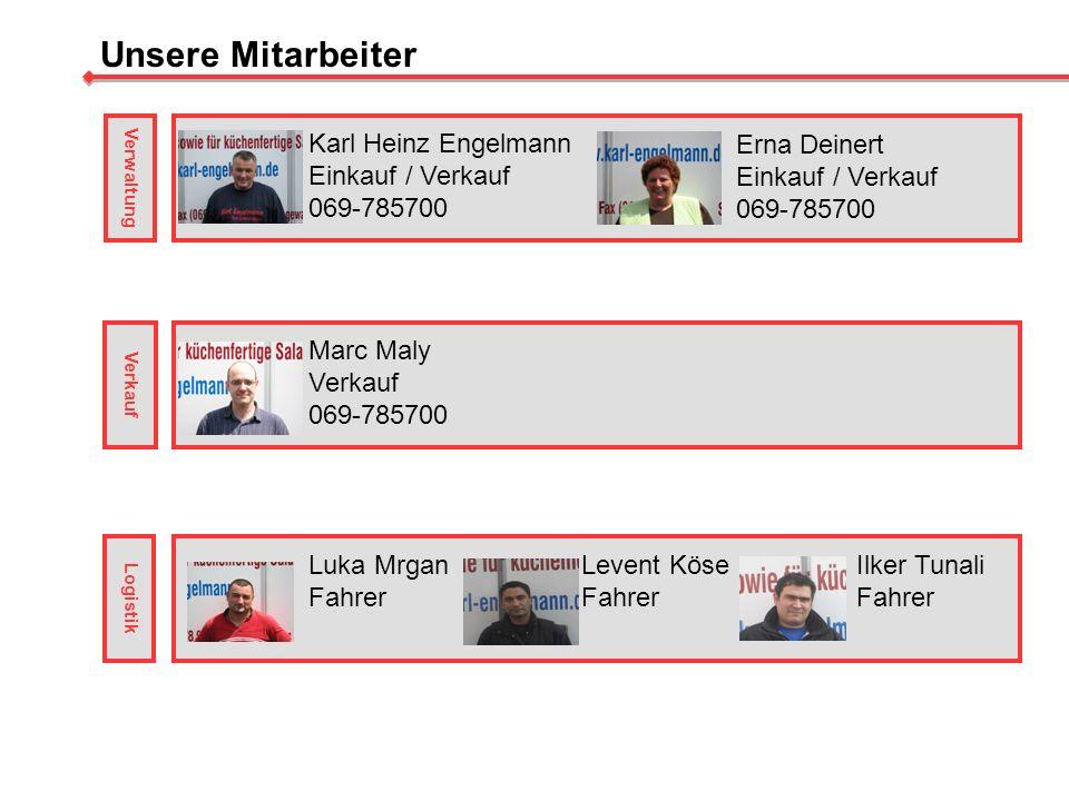 Unsere Mitarbeiter Karl Heinz Engelmann Einkauf / Verkauf 069-785700 Erna Deinert Einkauf / Verkauf 069-785700 Marc Maly Verkauf 069-785700 Luka Mrgan