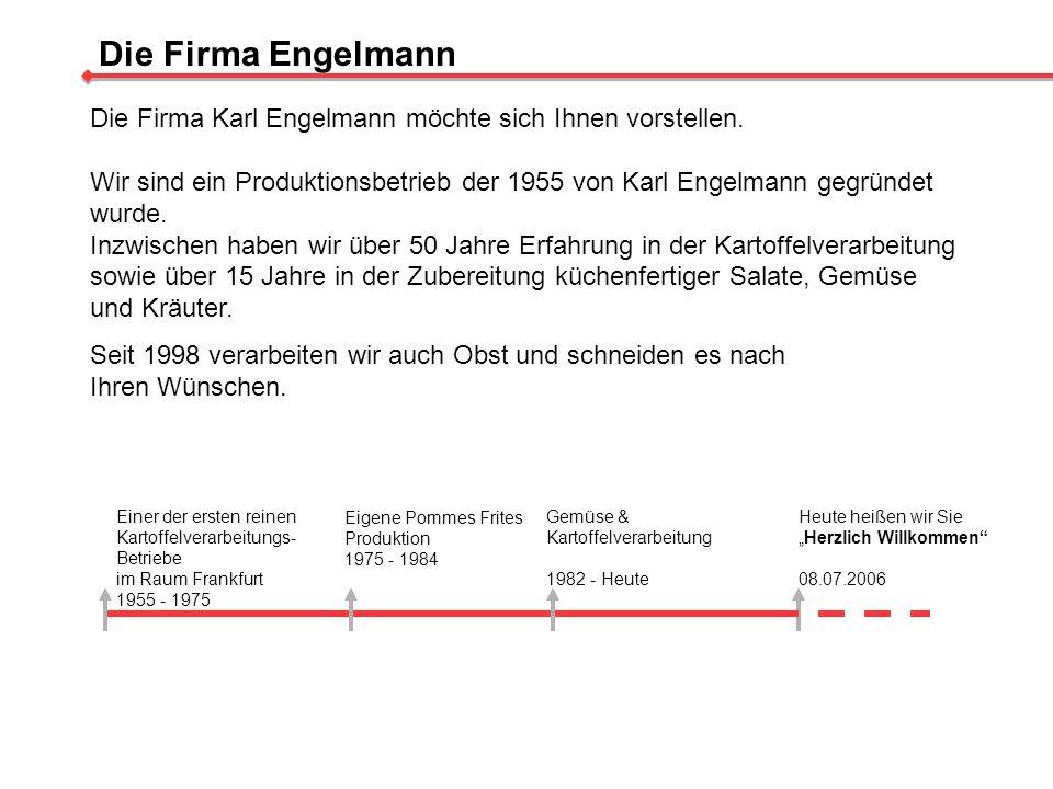 Die Firma Engelmann Die Firma Karl Engelmann möchte sich Ihnen vorstellen. Wir sind ein Produktionsbetrieb der 1955 von Karl Engelmann gegründet wurde