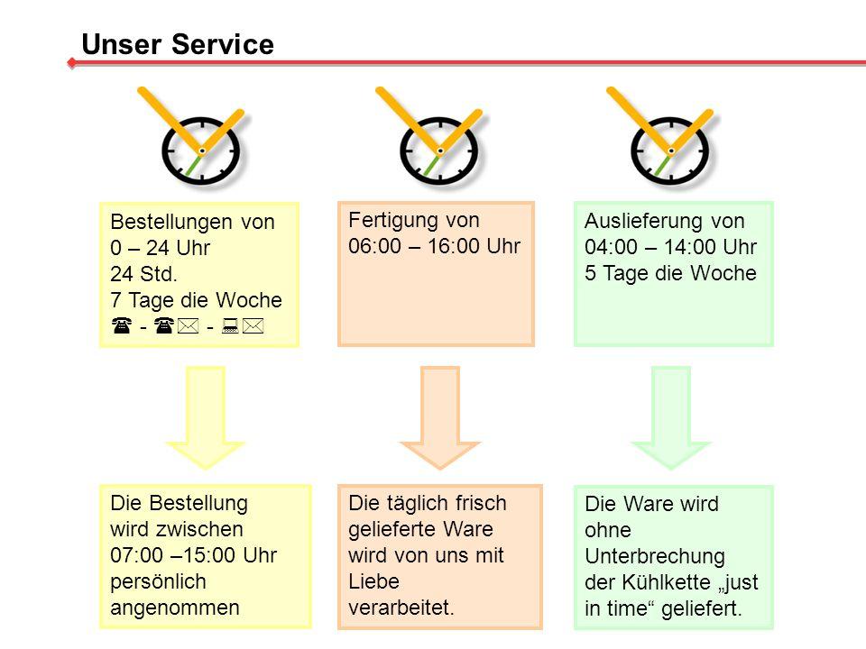 Bestellungen von 0 – 24 Uhr 24 Std. 7 Tage die Woche - - Fertigung von 06:00 – 16:00 Uhr Auslieferung von 04:00 – 14:00 Uhr 5 Tage die Woche Unser Ser