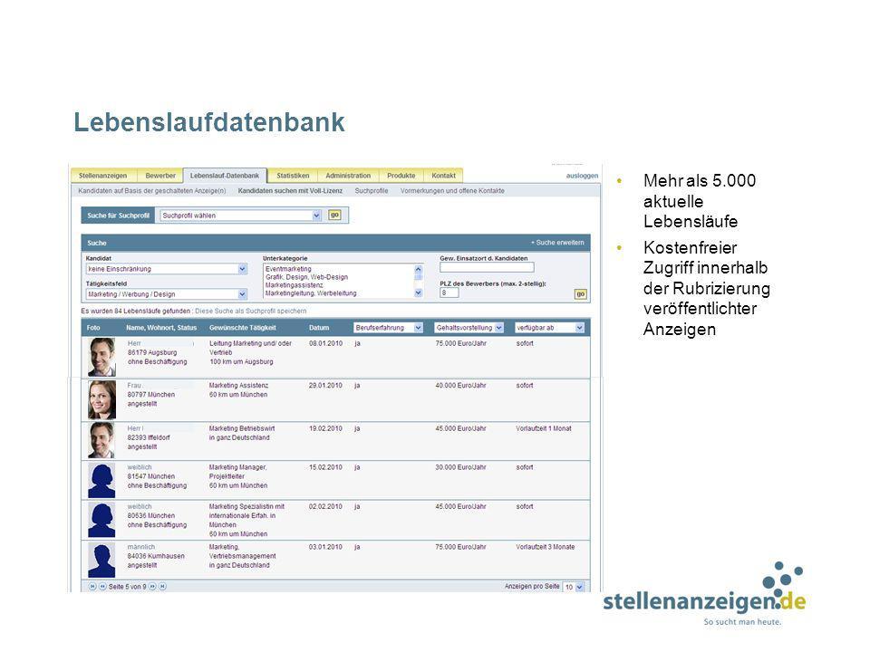 Lebenslaufdatenbank Mehr als 5.000 aktuelle Lebensläufe Kostenfreier Zugriff innerhalb der Rubrizierung veröffentlichter Anzeigen
