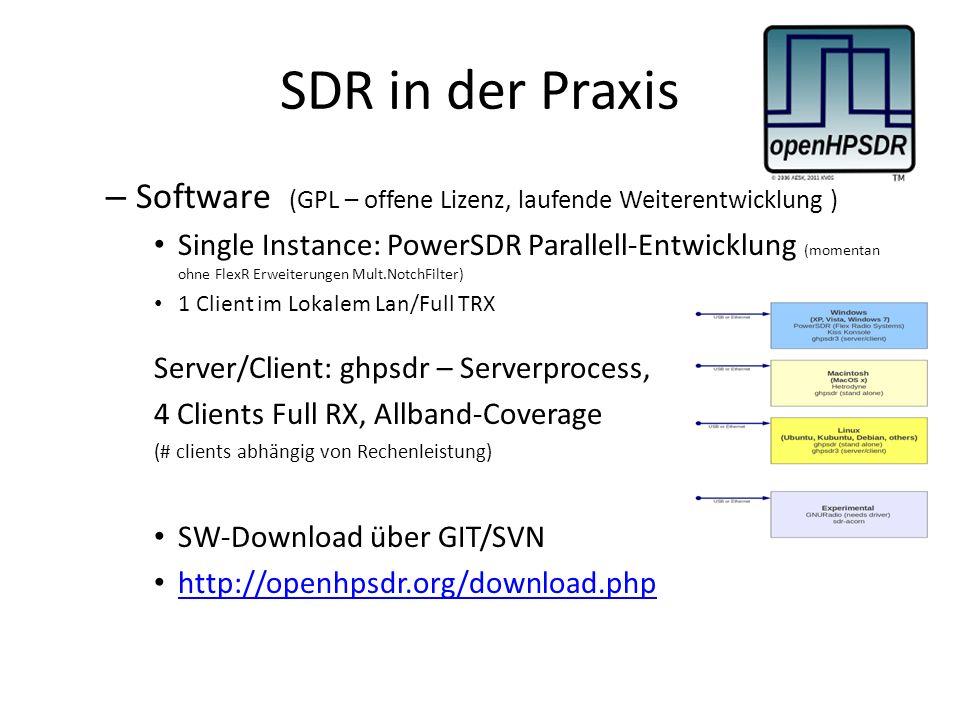 SDR in der Praxis – Software (GPL – offene Lizenz, laufende Weiterentwicklung ) Single Instance: PowerSDR Parallell-Entwicklung (momentan ohne FlexR Erweiterungen Mult.NotchFilter) 1 Client im Lokalem Lan/Full TRX Server/Client: ghpsdr – Serverprocess, 4 Clients Full RX, Allband-Coverage (# clients abhängig von Rechenleistung) SW-Download über GIT/SVN http://openhpsdr.org/download.php