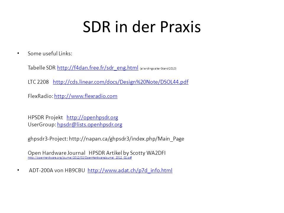 SDR in der Praxis Some useful Links: Tabelle SDR http://f4dan.free.fr/sdr_eng.html (allerdings alter Stand 2010) http://f4dan.free.fr/sdr_eng.html LTC