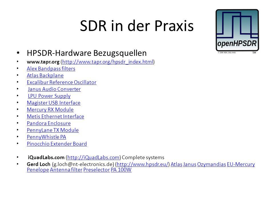 SDR in der Praxis HPSDR-Hardware Bezugsquellen www.tapr.org (http://www.tapr.org/hpsdr_index.html)http://www.tapr.org/hpsdr_index.html Alex Bandpass f