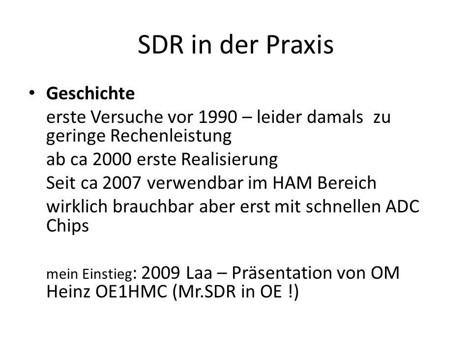 SDR in der Praxis Geschichte erste Versuche vor 1990 – leider damals zu geringe Rechenleistung ab ca 2000 erste Realisierung Seit ca 2007 verwendbar im HAM Bereich wirklich brauchbar aber erst mit schnellen ADC Chips mein Einstieg : 2009 Laa – Präsentation von OM Heinz OE1HMC (Mr.SDR in OE !)
