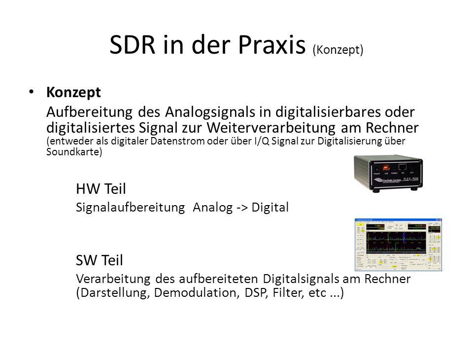 SDR in der Praxis (Konzept) Konzept Aufbereitung des Analogsignals in digitalisierbares oder digitalisiertes Signal zur Weiterverarbeitung am Rechner