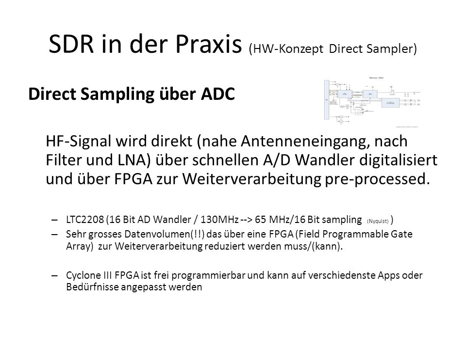 SDR in der Praxis (HW-Konzept Direct Sampler) Direct Sampling über ADC HF-Signal wird direkt (nahe Antenneneingang, nach Filter und LNA) über schnellen A/D Wandler digitalisiert und über FPGA zur Weiterverarbeitung pre-processed.