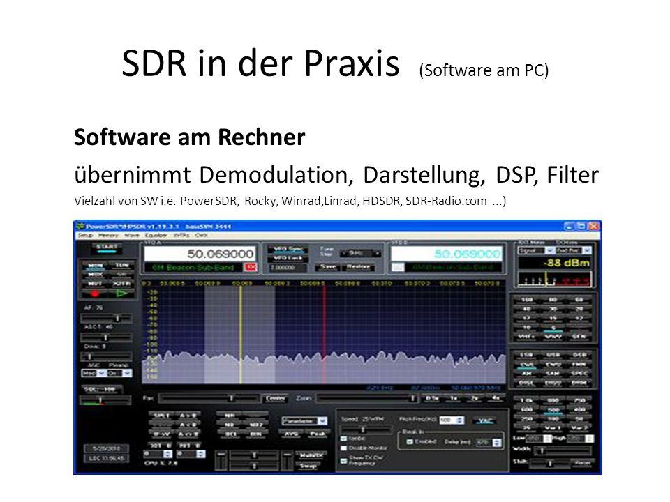 SDR in der Praxis (Software am PC) Software am Rechner übernimmt Demodulation, Darstellung, DSP, Filter Vielzahl von SW i.e. PowerSDR, Rocky, Winrad,L